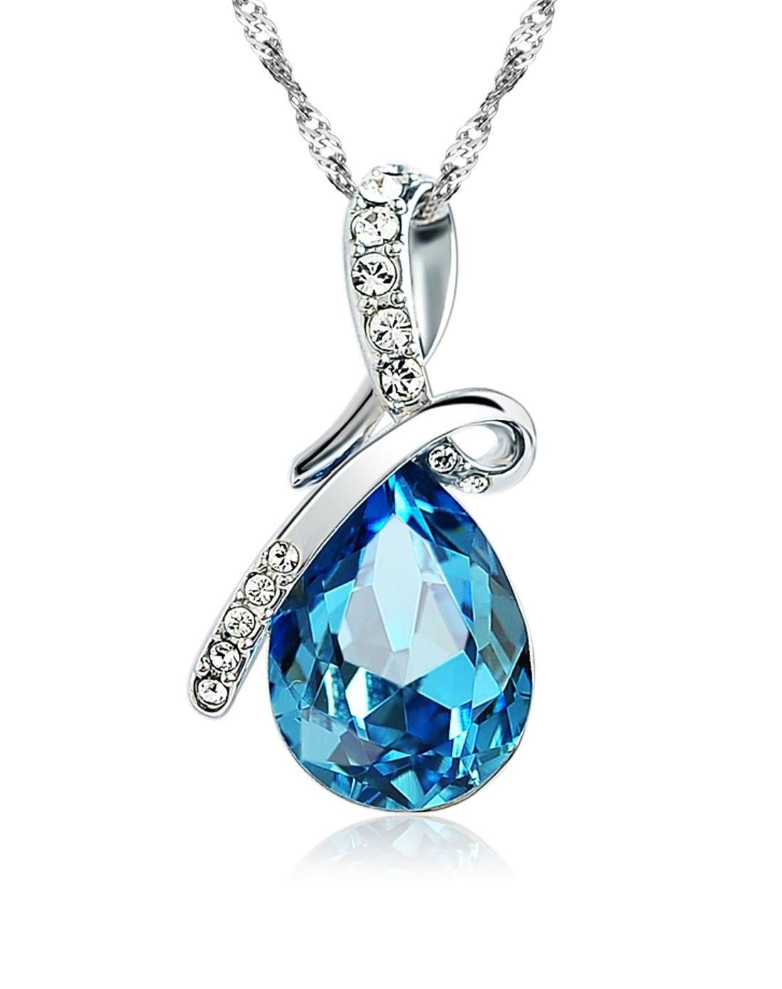 #AdoreWe #VIPme Necklaces - MINGLIN Silver Plated With Teardrop Blue Crystal Pendant - AdoreWe.com