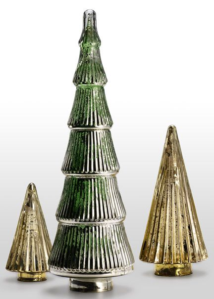 mercury glass tabletop christmas trees great for display on a holiday dinner table in - Glass Christmas Trees