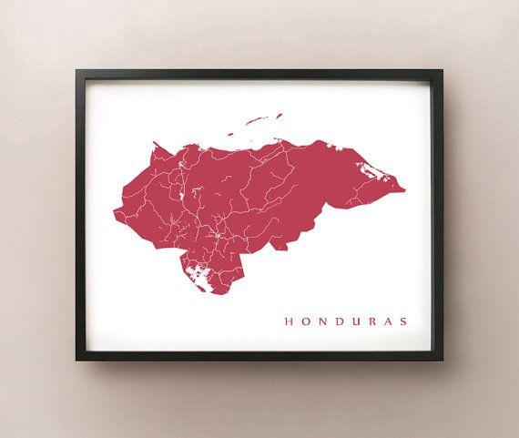 Honduras Map by CartoCreative on Etsy