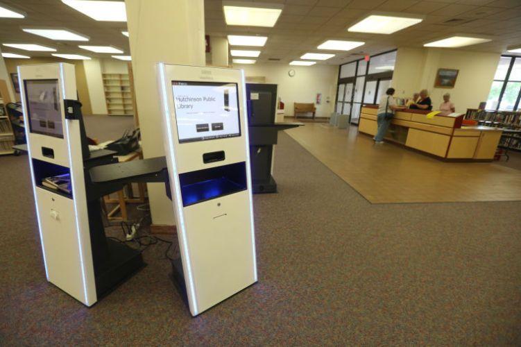 Hutchinson Library self checkout Library Kiosks Pinterest