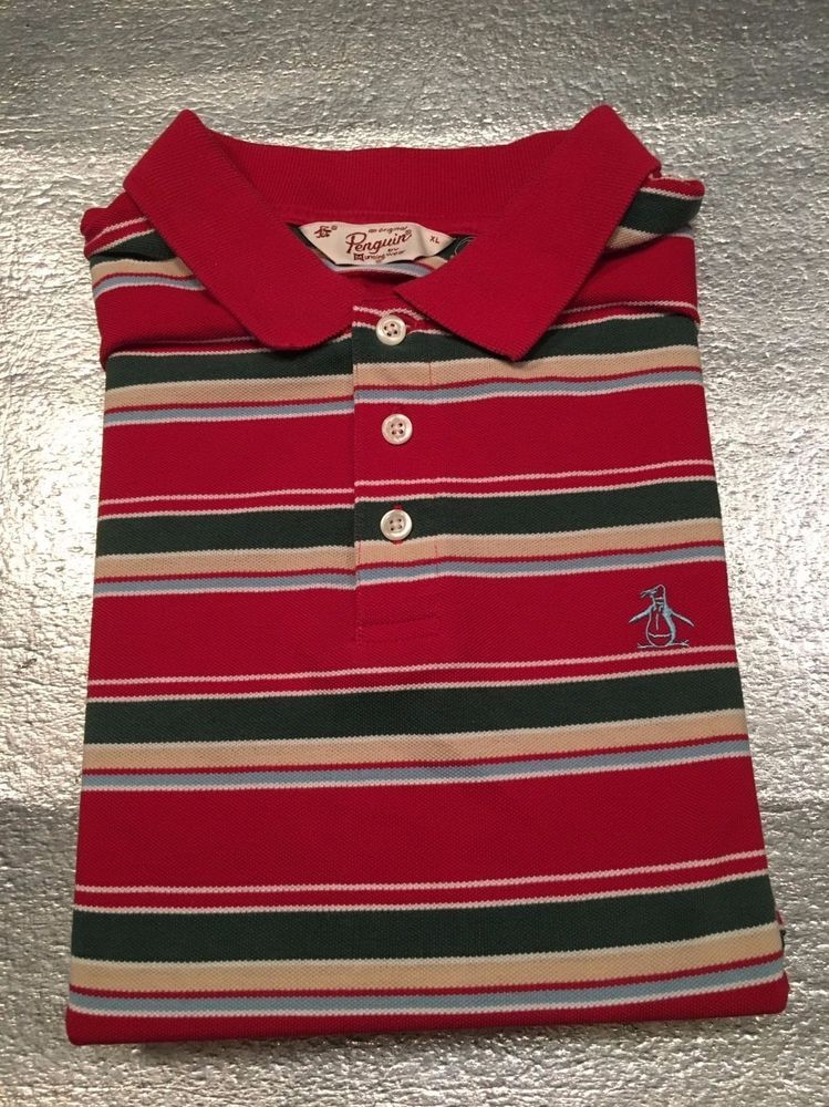 bb2a10e0d Men's ORIGINAL PENGUIN BY MUNSINGWEAR Golf Polo Shirt - Striped - Size L*