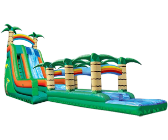 27 Tropical Dual Slide Slip N Splash Combo Water Slice Inflatable Bounce House Birthday Party Rentals Water Party