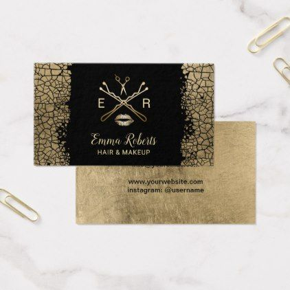 Makeup artist hair salon luxury gold crackle business card makeup artist hair salon luxury gold crackle business card hair salon gifts customize personalize reheart Image collections