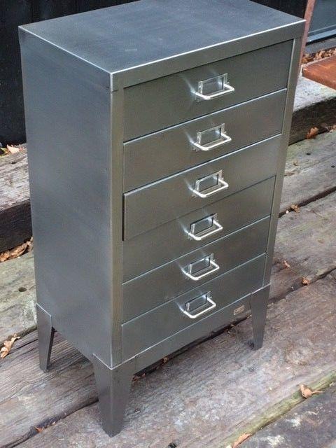 Filing Cabinet Stripped Polished Steel Industrial Vintage 6 Drawer Storage  | EBay
