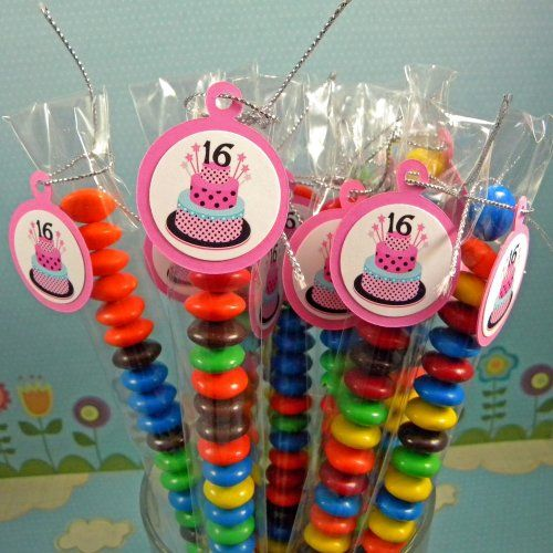 16th Birthday Treats: Sweet 16 Birthday Cake Candy Treat Bag Favors For 16th Set