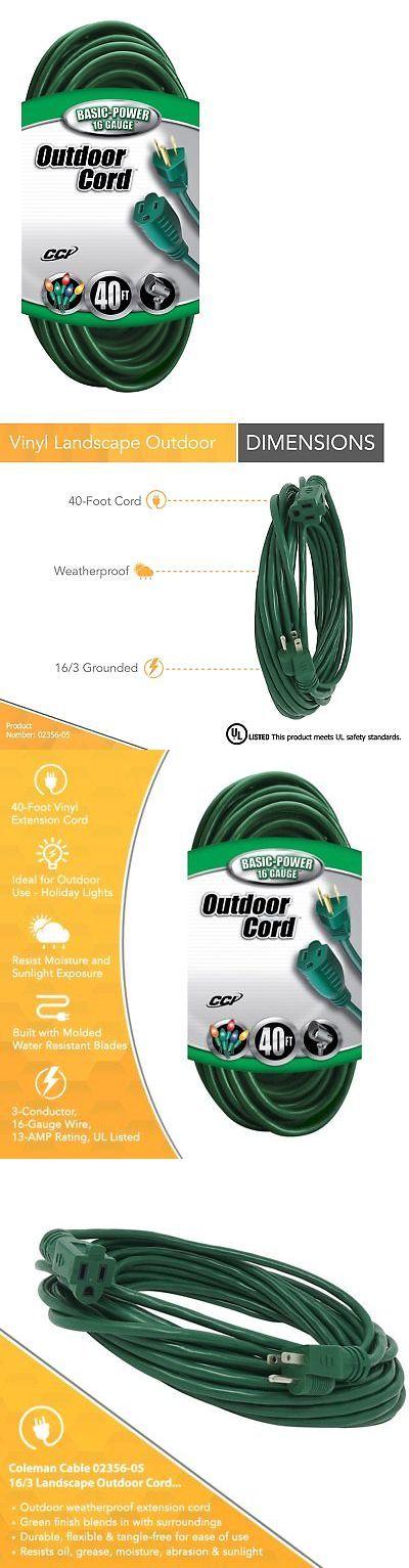Extension Cords 75577 Coleman Cable 2356 16 3 Vinyl Landscape Outdoor Extension Cord Green 40 Foot Buy Outdoor Extension Cord Outdoor Landscaping Coleman