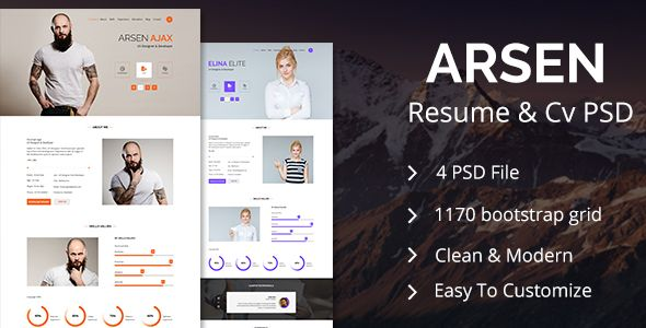 ARSEN - CV/RESUME - PSD Template  ARSEN CV/RESUME is a creative and - resume website