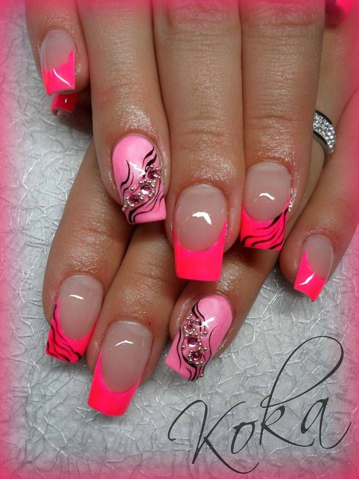 Pink gel nail designs. Each design would be pretty on their own but ...