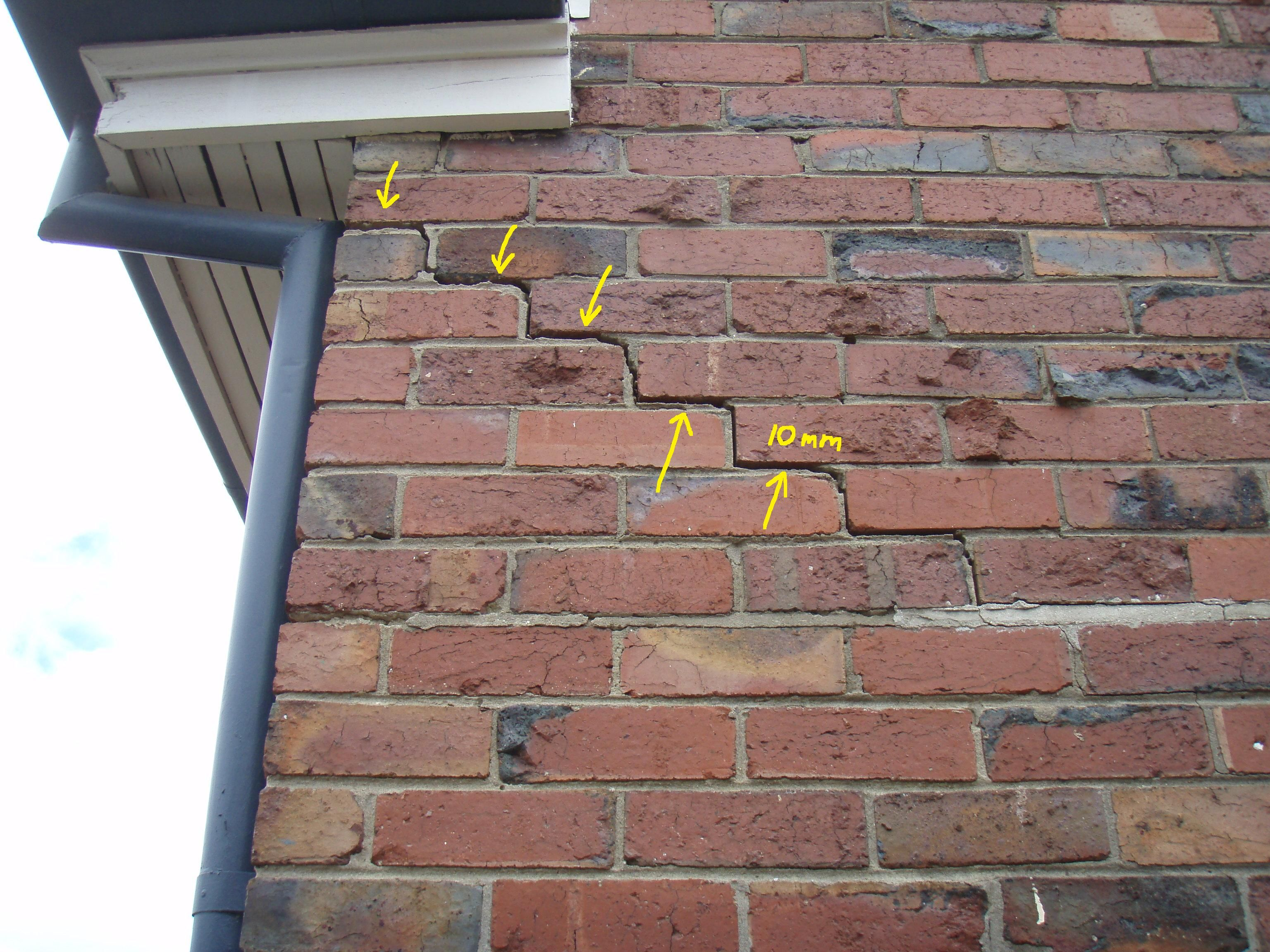 Settlement movement Brick repair, Brick wall, Brick