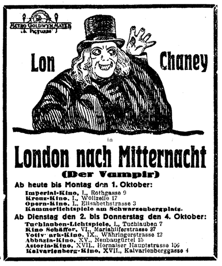 Austrian Ad For London After Midnight 1927 Via Ronald Merchant