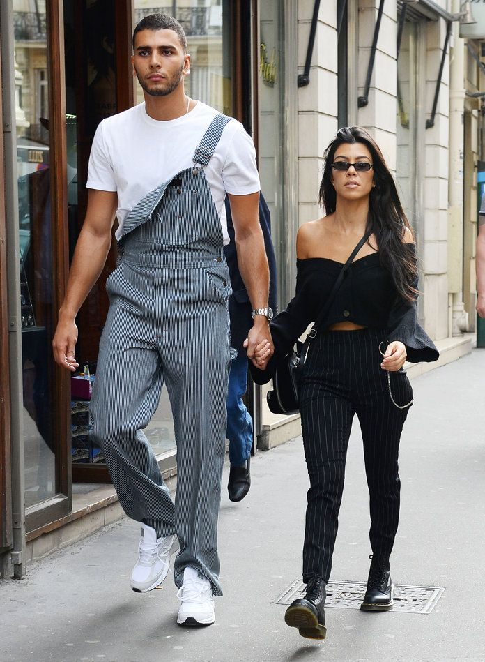 Kourtney Kardashian And Younes Bendjima Coordinate In Pinstripe