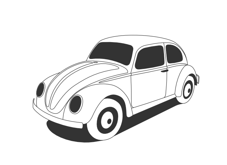 Vw Beetle Classic Black White Line Art Scalable Vector Graphics SVG Inkscape Adobe Illustrator Clip Clipart Wall Paper Background