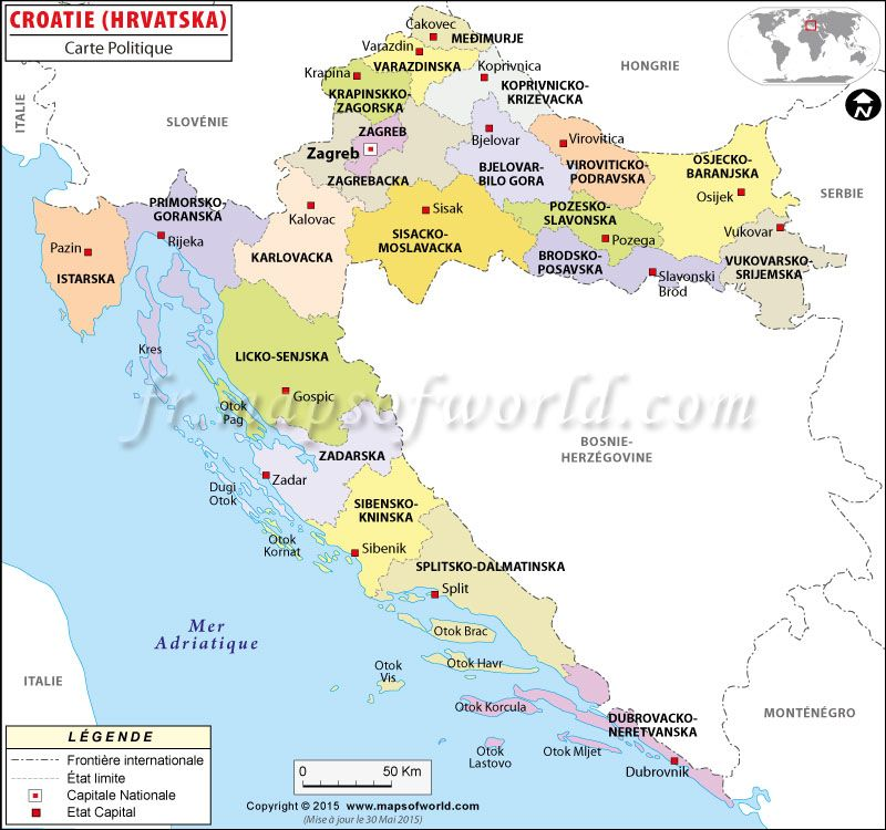 Croatie carte carte du monde pinterest geography political map of croatia illustrates the surrounding countries with international borders 20 counties boundaries with their capitals and the national gumiabroncs Images