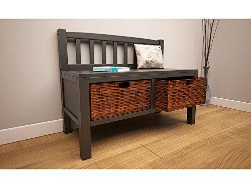Charming Solid Wood Storage Bench With Wicker Basket Drawers Underneath   Hallway  Bench, Shoe Storage Etc