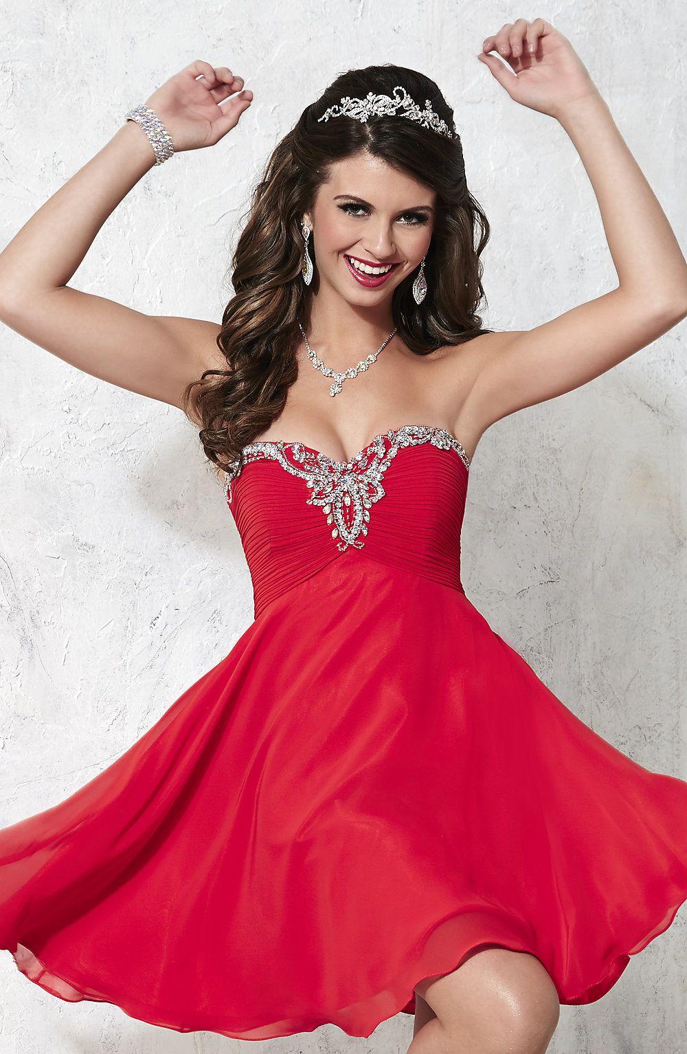 Short red beading prom dresssweetheart strapless homecoming dress