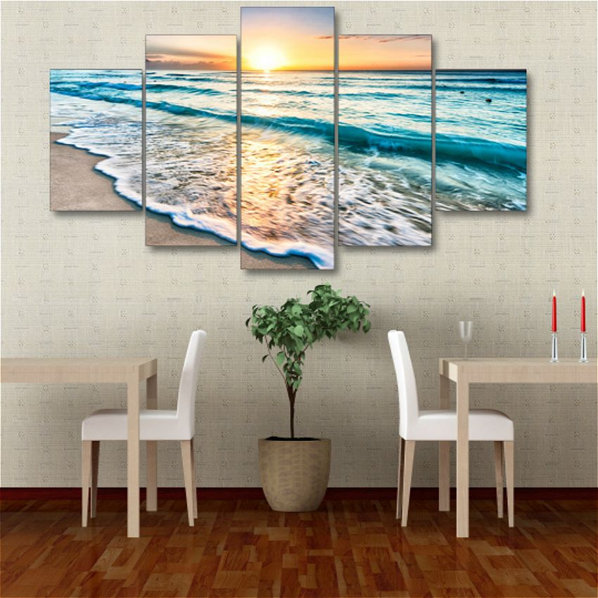 Wall Art Sunset Beach Canvas Prints Sea