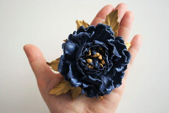 Cuir bleu fleurs rose rose broche bijoux en par ArtFlowerBoutique ... 2a5e1fff2fe