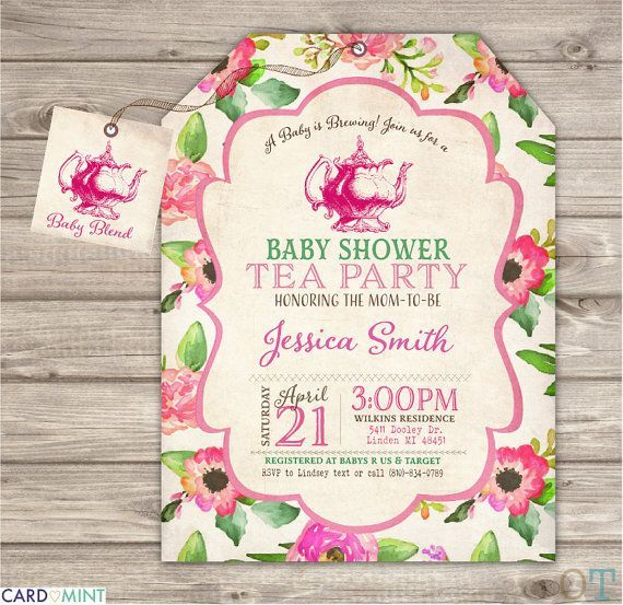 child Bathe Tea get together Invitation a Child is brewing Flowers - invitation for a get together