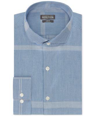 Kenneth Cole Reaction Slim-Fit Blue Frost Stripe Dress Shirt