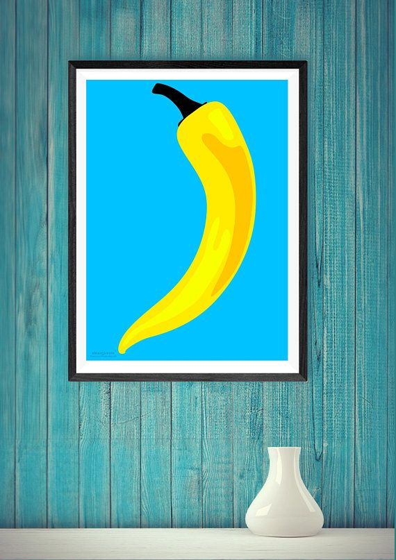 Kitchen wall decor pop art style modern contemporary design printable large chili pepper in yellow and sky blue etsy handmade pinterest also rh