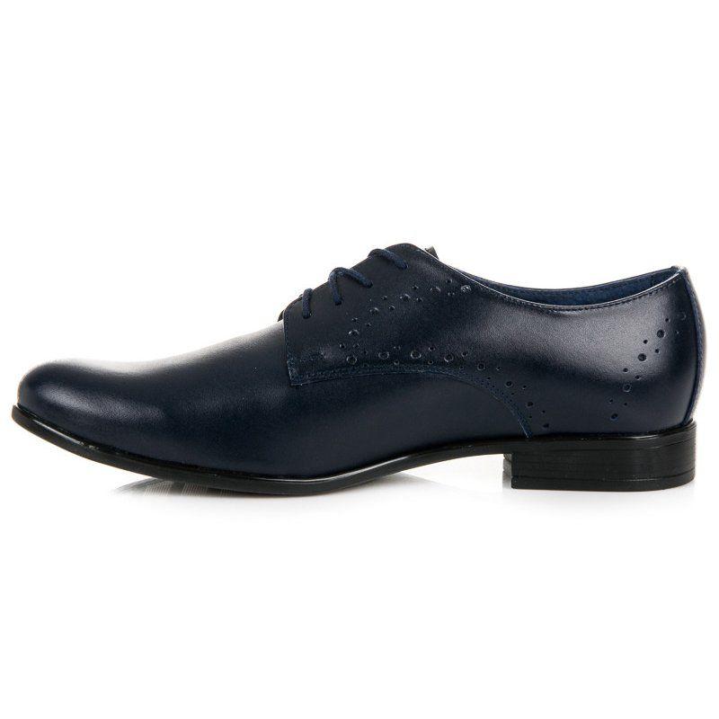 Polbuty Meskie Lucca Lucca Niebieskie Granatowe Eleganckie Buty Dress Shoes Men Oxford Shoes Dress Shoes