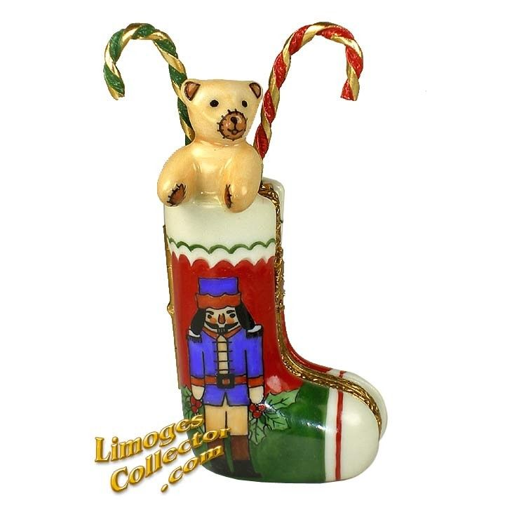 Christmas Stocking with Nutcracker  Gifts Limoges Box by Beauchamp
