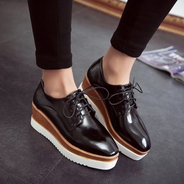 Womens Fashion Platform Wedge High Heel Lace up Oxford Shoes