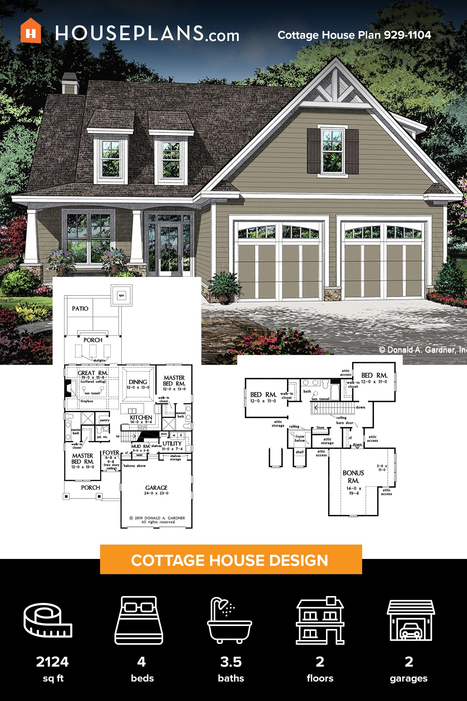Cottage Style House Plan 4 Beds 3 5 Baths 2124 Sq Ft Plan 929 1104 Craftsman House Plans House Plans Cottage Style House Plans