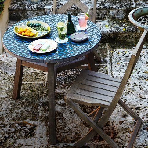 mosaic tiled bistro table indigo hex