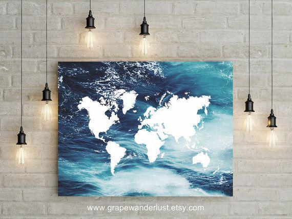 World map ocean decor ocean print world map art ocean art mapa del mundo ocano decoracin impresin de por grapewanderlust gumiabroncs Images