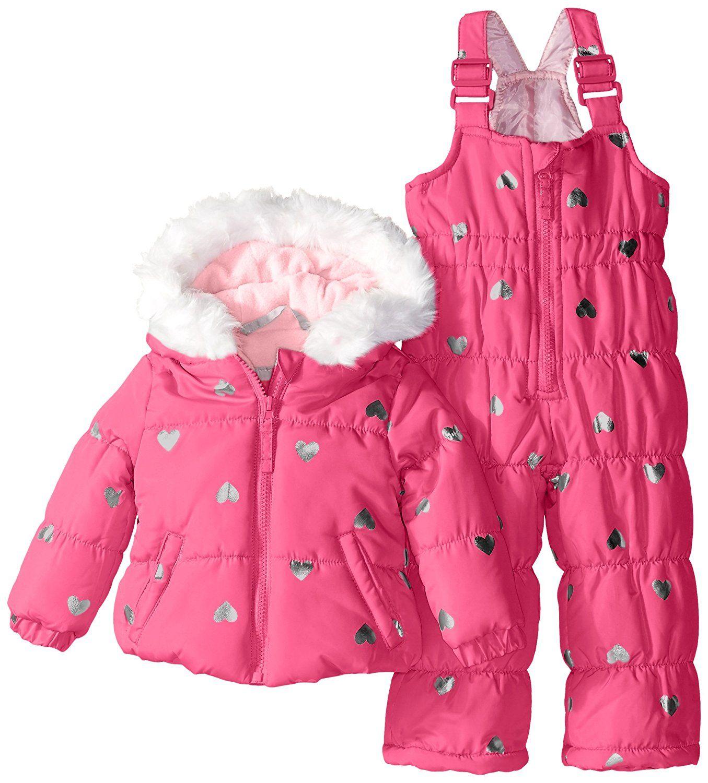 71c914506360 Weatherproof Baby-Girls Infant Foil Heart Print Puffer Snowsuit ...