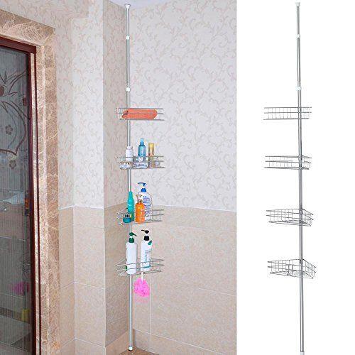 Bath Accessory Sets Chrome Shower Tub Corner Shelf Metal Tension