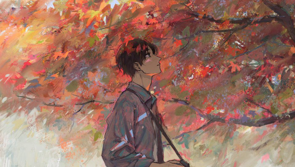 Anime Boy Autumn Tree Artwork Wallpaper Fall Wallpaper 1080p Anime Wallpaper Hd Anime Wallpapers