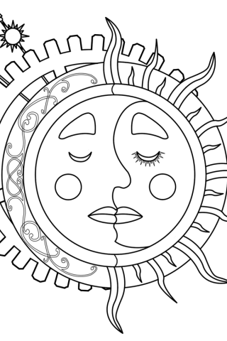 Sun And Moon Coloring Pages 320x480 Dibujos Moon Coloring Pages Coloring Pages Y Planet Coloring Pages