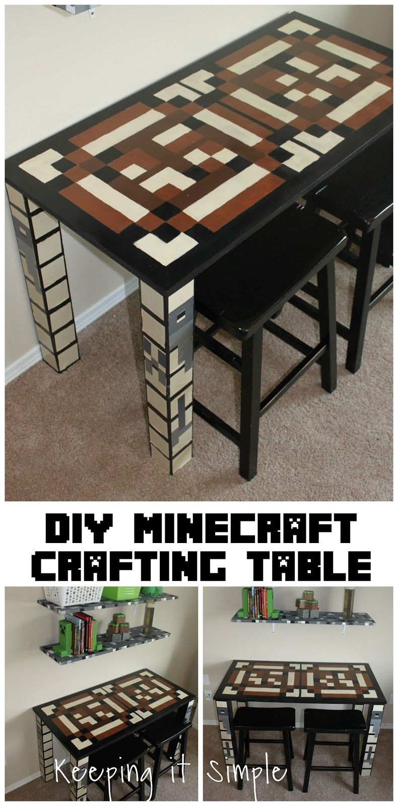 diy minecraft furniture- minecraft crafting table. #minecraft