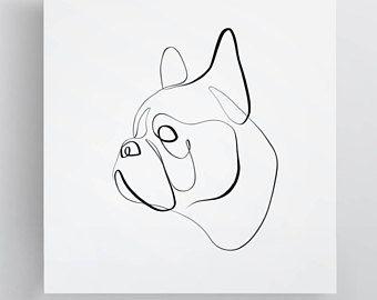 English Bulldog Line Art American Bulldog Gifts Pet Portrait Abstract One Line Drawing 강아지