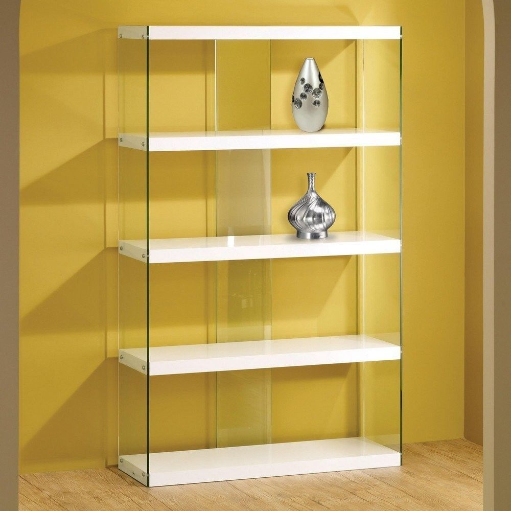 WHITE GLASS DISPLAY CABINET BOOKCASE Floating Shelves Contemporary Storage  Unit