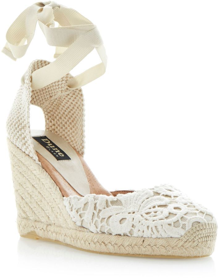 8b1a06e0f6 House of Fraser Dune Black Lambo fabric round toe wedge espadrilles on  shopstyle.co.uk