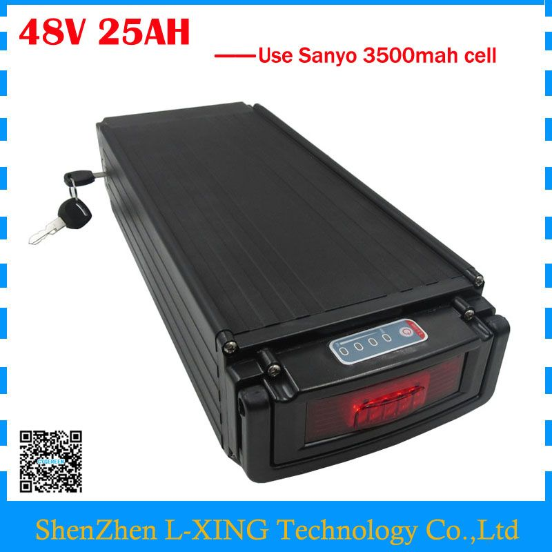 Electric Bike Battery 48v 25ah Li Ion Battery 48v 24 5ah Rear Rack Battery With Tail Light Use Sanyo 3500mah Cell 30a Bms Electric Bike Battery Electric Bicycle Battery E Bike Battery