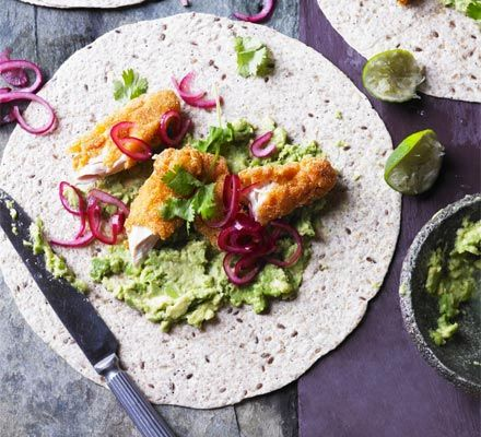 Smashed Avocado With Crispy Chicken Pickled Onions Tortillas Recipe Recipes Bbc Good Food Crispy Chicken Pickled Onions Bbc Good Food Recipes