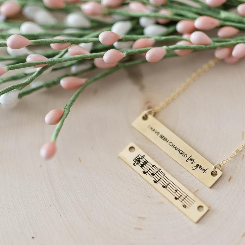 071029a64aa03 I Have Been Changed For Good Bar Music Necklace, REVERSIBLE 'WICKED ...
