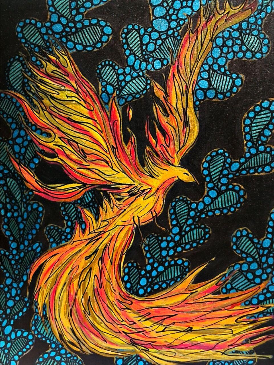 Original painting Phoenix fire bird on 18 x 24 by beccasboudoir. Original painting Phoenix fire bird on 18 x 24 by beccasboudoir