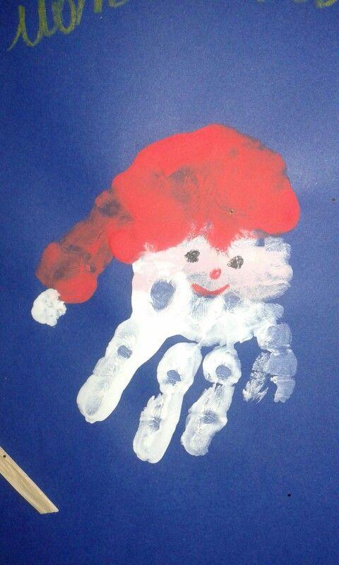 Lavoretti Di Natale Con Le Impronte Delle Mani.Babbo Natale Con Impronte Delle Mani Dei Bambini Scuola