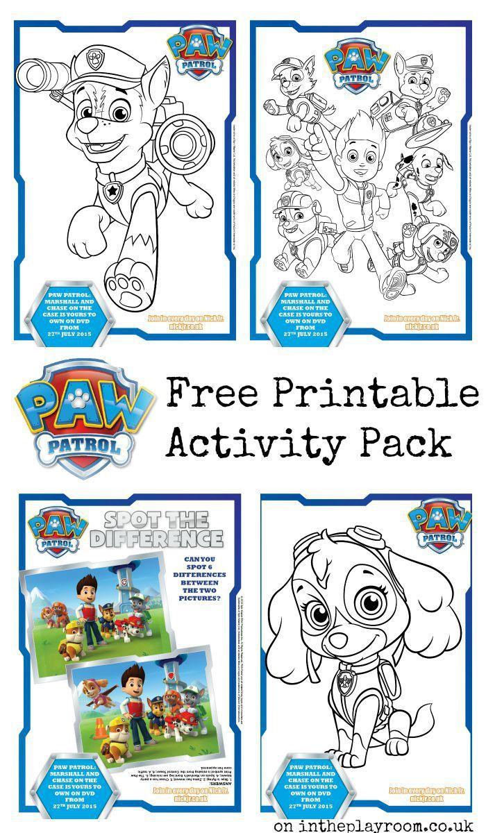 Paw Patrol Colouring Pages And Activity Sheets Paw Patrol Free