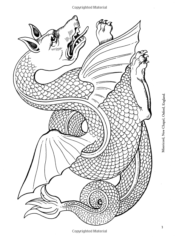 medieval dragon coloring pages - gargoyles and medieval monsters coloring book dover