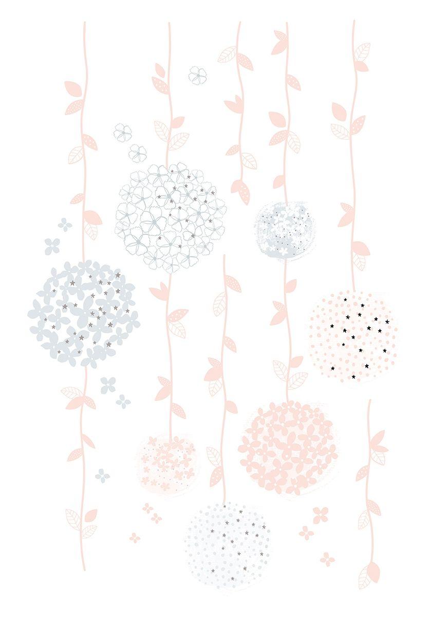 Kinderzimmer Wandtattoo XL 'Blumenranken' grau/rosa 68cm