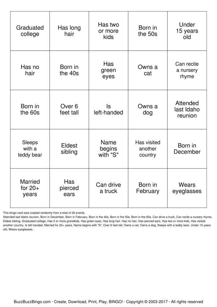 Randomly Generated Herzinger Reunion Human Bingo Bingo Card Herzinger Reunion Human Bingo Party He Human Bingo Family Reunion Games Family Reunion Activities