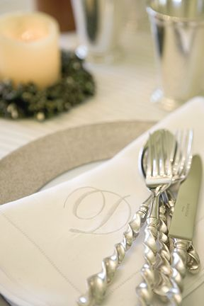 Monogrammed Linen Napkins And Sterling Silver