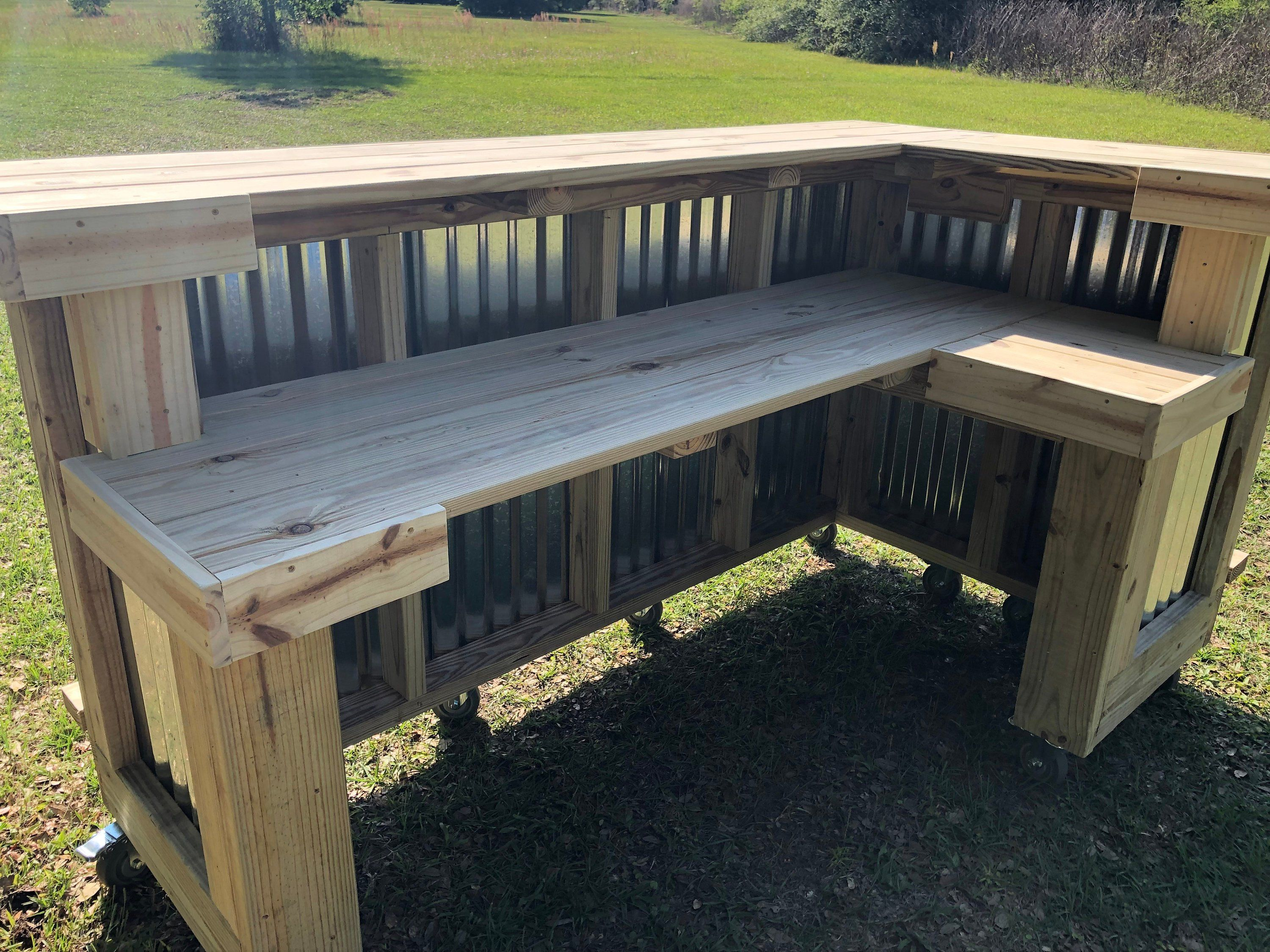 The Metal Kitchen 7 X 4 5 2 Level L Shaped Rustic Style Real Pressure Treated Wood Corrugated Metal Outdoor Or Indoor Bar Outdoor Patio Bar Rustic Outdoor Kitchens Patio Bar