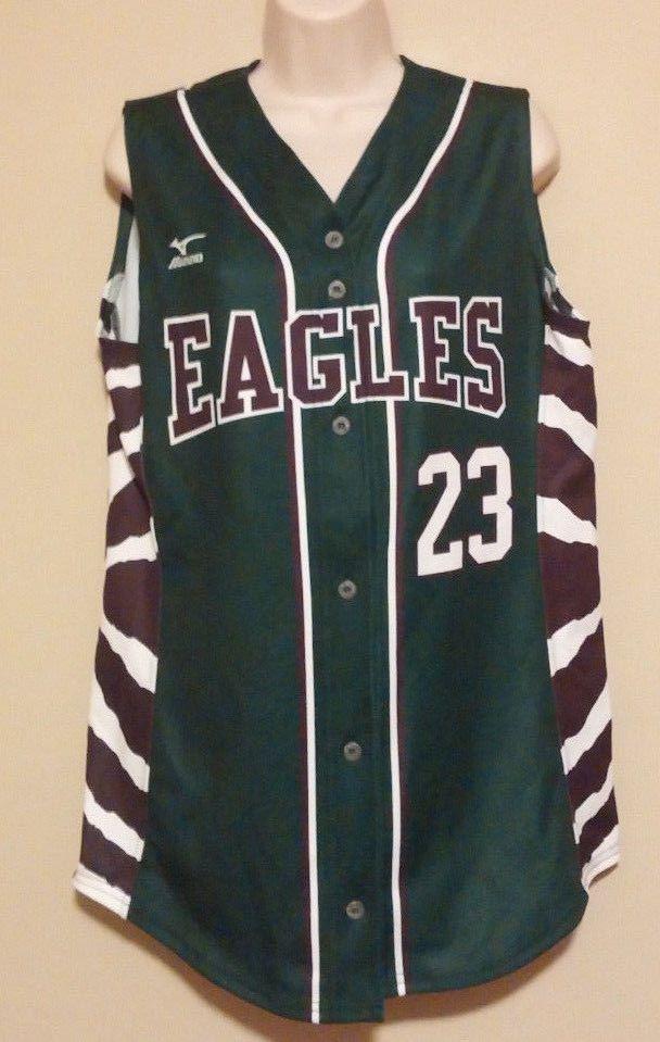 RARE Womens Minuzo Eagles Medium Softball Jersey  23  mizuno ... 32cd04edc